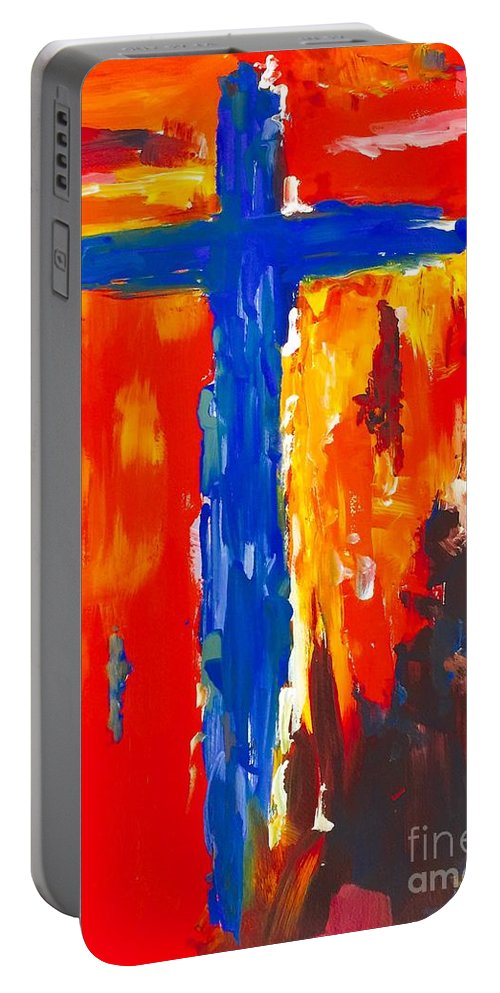 Cross Portable Battery Charger featuring the painting One Way by Patsy Walton