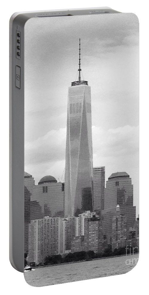 One World Trade Center Portable Battery Charger featuring the photograph One World Trade Center by Christy Gendalia