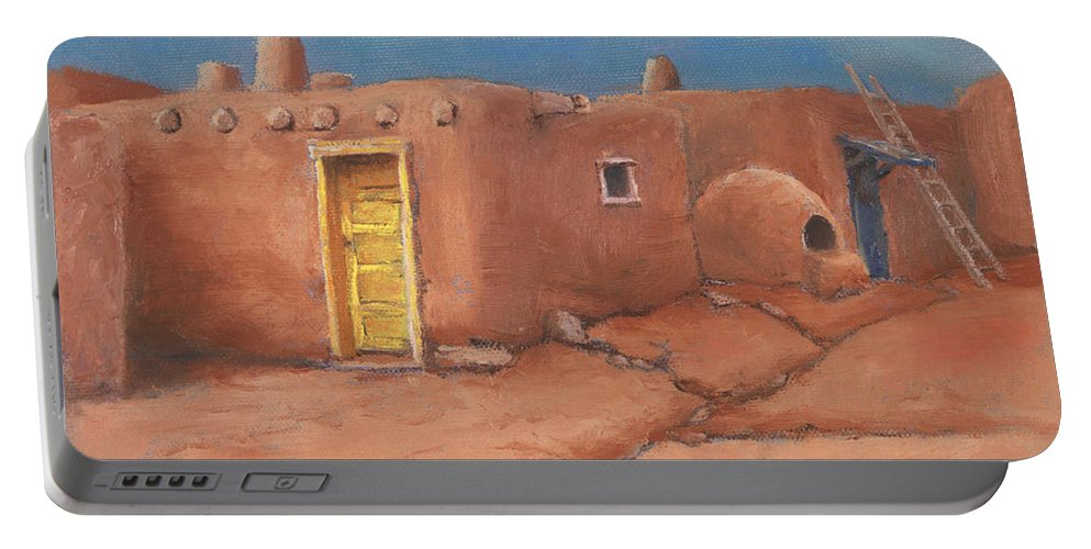 Taos Portable Battery Charger featuring the painting One Yellow Door by Jerry McElroy