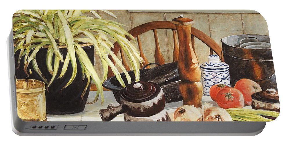 Onion Portable Battery Charger featuring the painting Onion Soup Tonight by Richard T Pranke