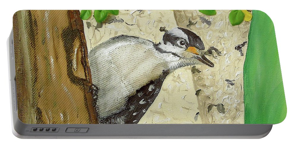 Artwork By Maria Woithofer Portable Battery Charger featuring the mixed media Onlooker by Maria Woithofer