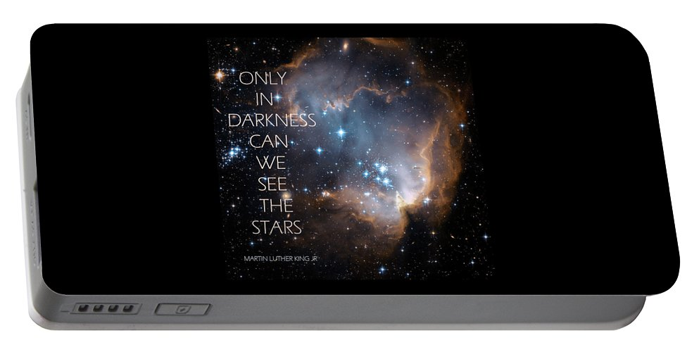 Inspiration Portable Battery Charger featuring the digital art Only In Darkness by Lora Serra