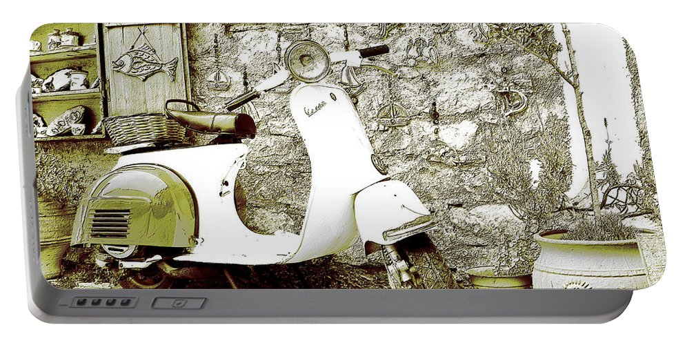 Motorcycles - Bikes - Motor - Vehicles - Wheels - Motorcyclist - Road - Trip - Decoration - Iron - Steel - Machine - Speed Portable Battery Charger featuring the digital art Only One by Lyriel Lyra