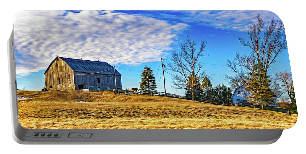 Steve Harrington Portable Battery Charger featuring the photograph Ontario Farm 3 - Paint by Steve Harrington