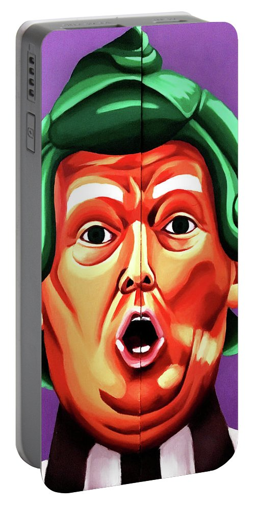 Trump Portable Battery Charger featuring the painting Oompa Loompa Trump by Adam Campbell