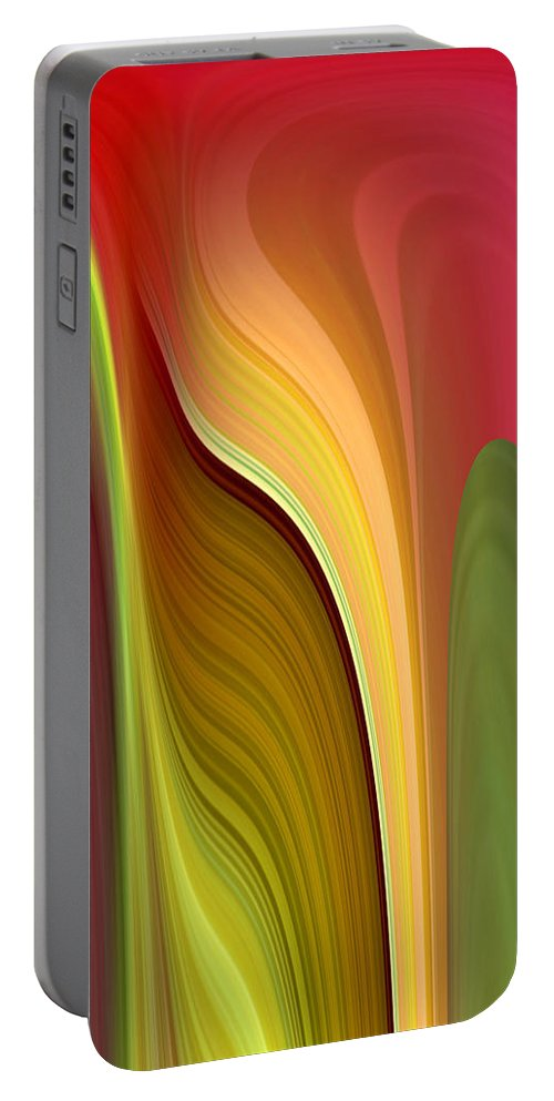 Abstract Portable Battery Charger featuring the digital art Oomph by Ruth Palmer