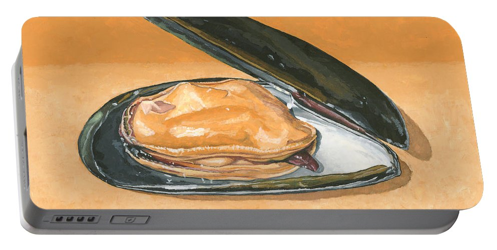 Mussel Portable Battery Charger featuring the painting Open Mussel by Dominic White