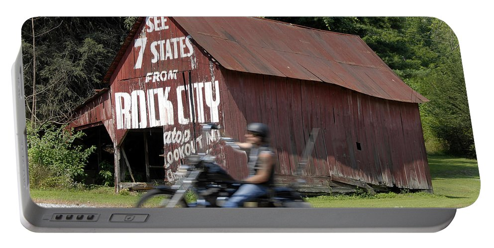 Motorcycle Portable Battery Charger featuring the photograph Open Road by David Lee Thompson