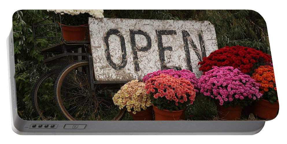Mums Portable Battery Charger featuring the photograph Open Sign With Flowers Fine Art Photo by James BO Insogna