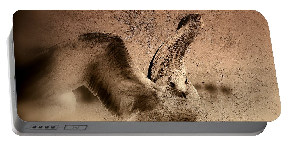 Seagull Portable Battery Charger featuring the photograph Open Wings by Susanne Van Hulst