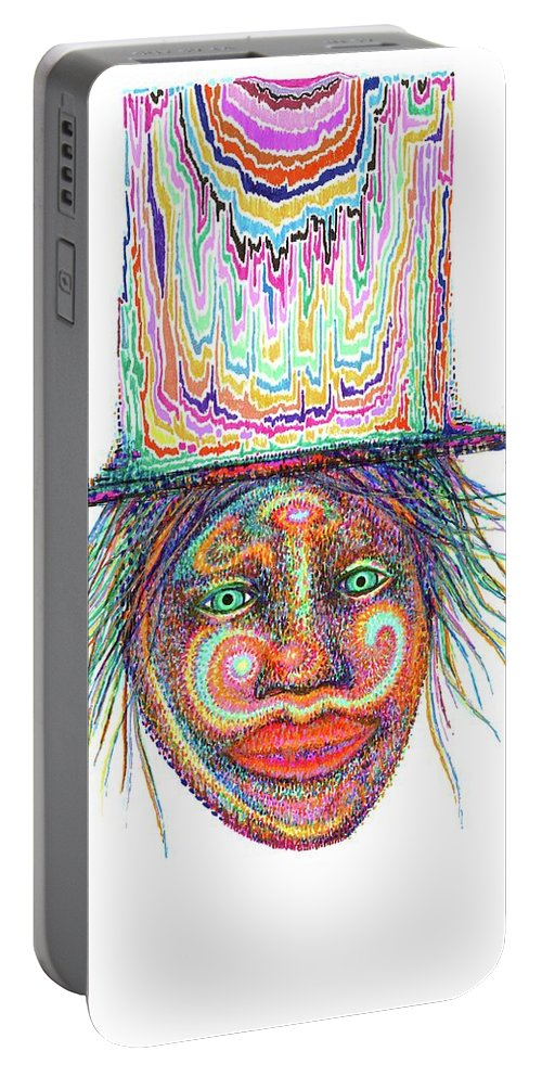 Gel Pen Portable Battery Charger featuring the drawing Opening Up by Erika Frikken