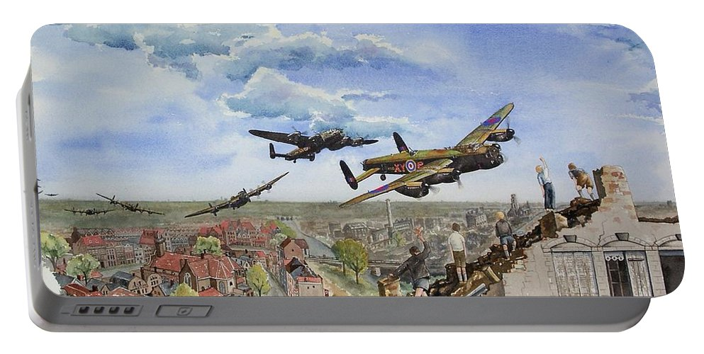 Lancaster Bomber Portable Battery Charger featuring the painting Operation Manna I by Gale Cochran-Smith