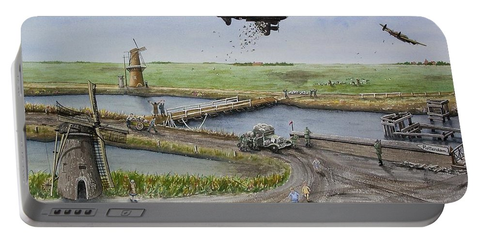 Lancaster Bomber Portable Battery Charger featuring the painting Operation Manna IIi by Gale Cochran-Smith
