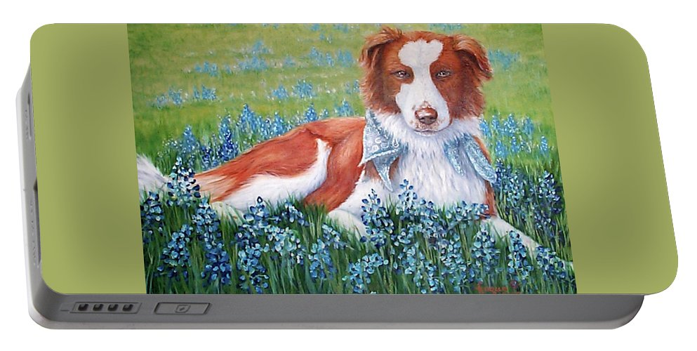 Fuqua Gallery-bev-artwork Portable Battery Charger featuring the painting Opie by Beverly Fuqua