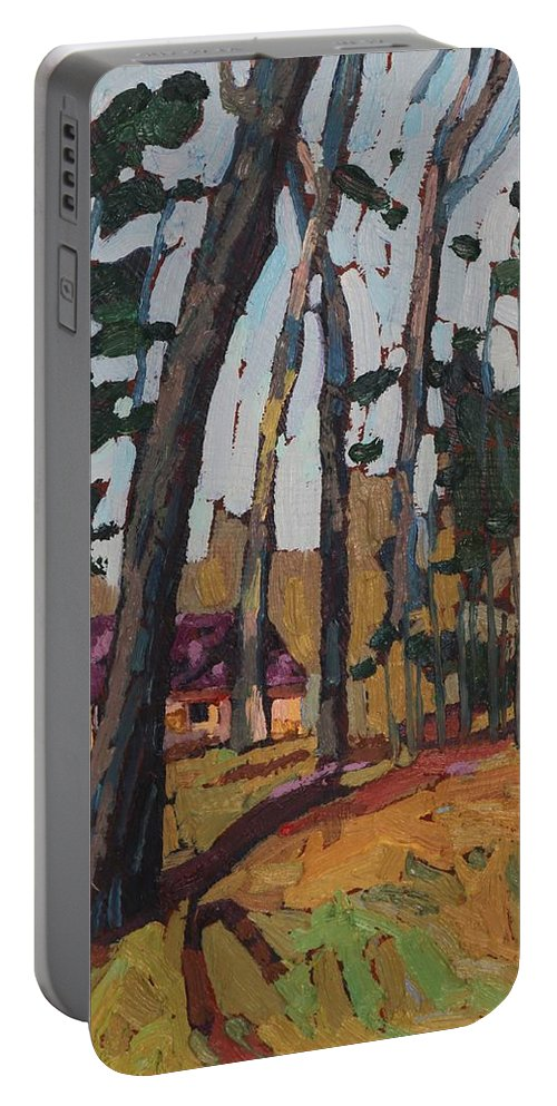 2045 Portable Battery Charger featuring the painting Opinicon Cabin Through The Oaks by Phil Chadwick