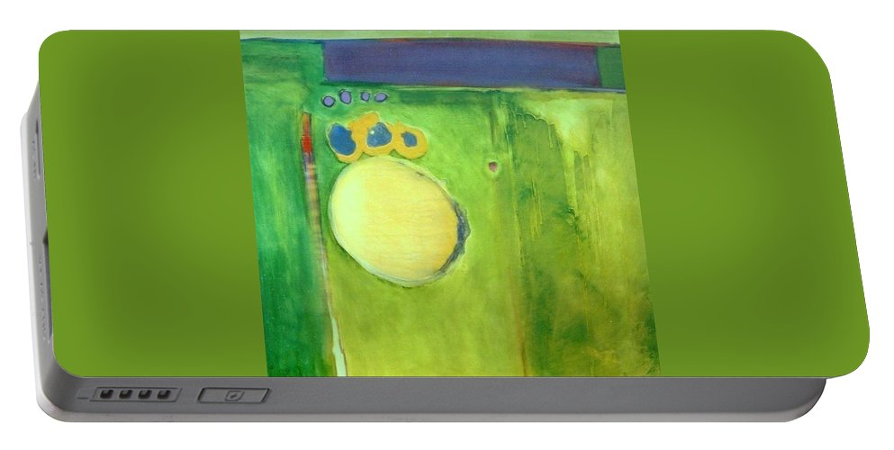 Abstract Portable Battery Charger featuring the painting Optic Nerve by Marlene Burns