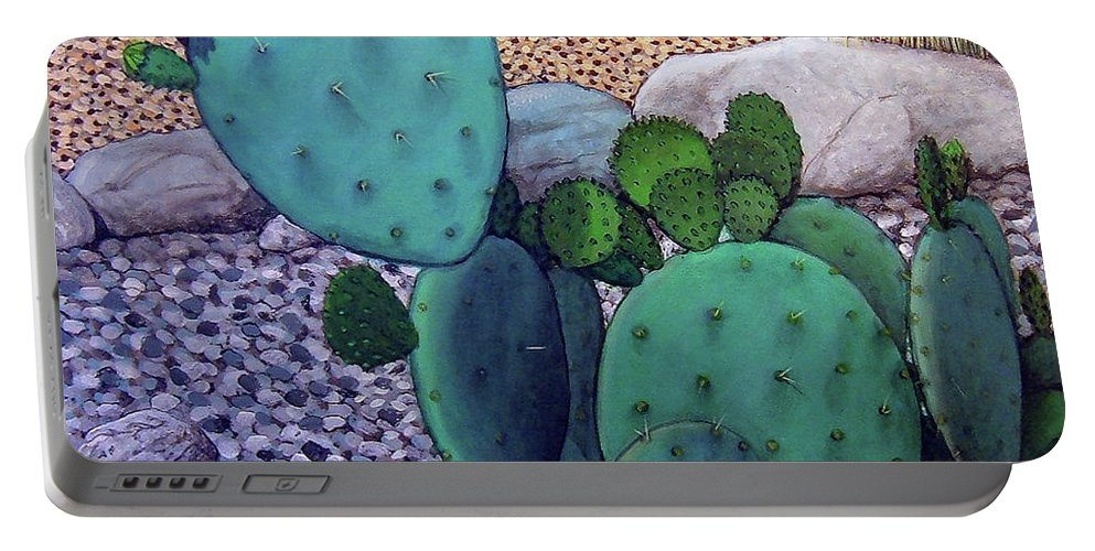 Landscape Portable Battery Charger featuring the painting Opuntia by Snake Jagger