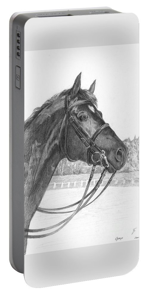 Horse Portable Battery Charger featuring the drawing Oracul by Tatiana Berezina