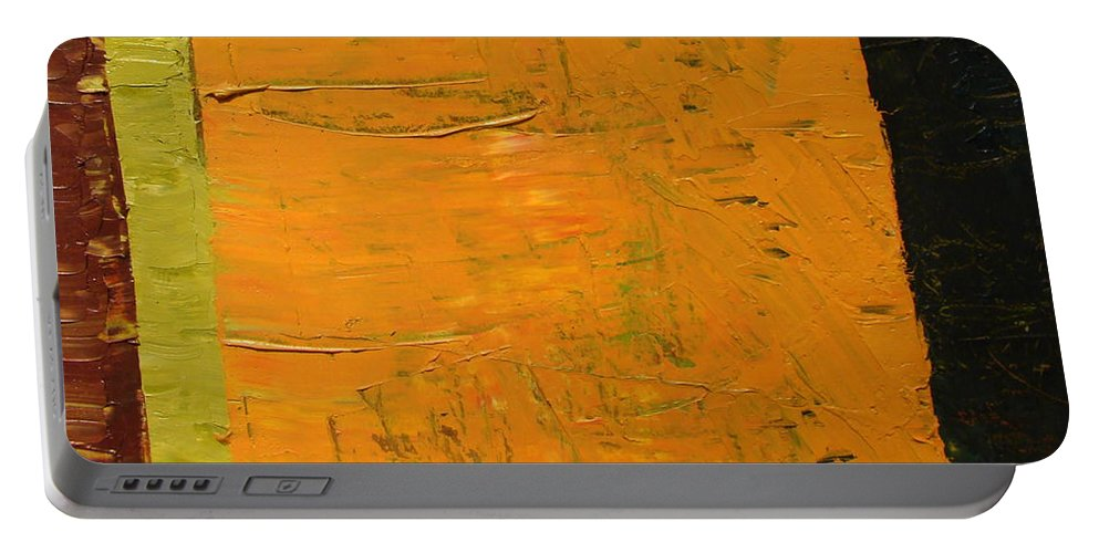 Red Portable Battery Charger featuring the painting Orange And Brown by Michelle Calkins