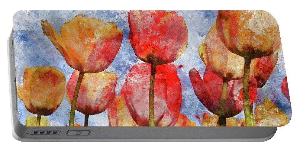 Flower Portable Battery Charger featuring the photograph Orange And Yellow Tullips With Blue Sky by Brandon Bourdages