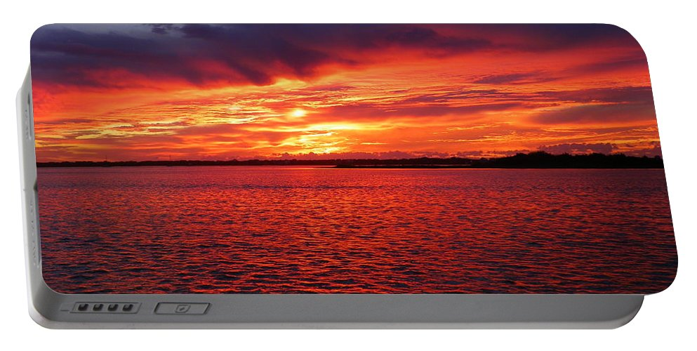 Sunsets Portable Battery Charger featuring the photograph Orange Burst At Daybreak by Karen Wiles