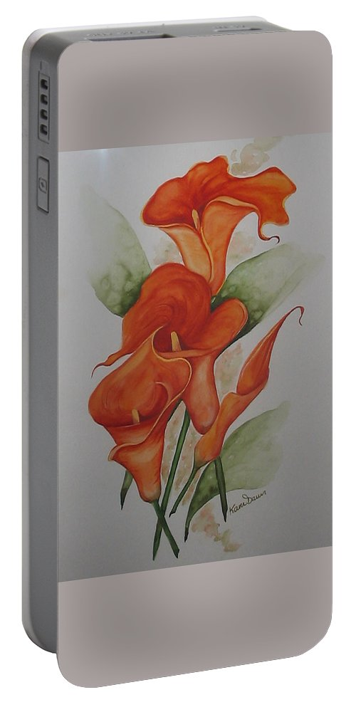 Floral Orange Lily Portable Battery Charger featuring the painting Orange Callas by Karin Dawn Kelshall- Best