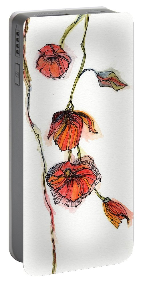 Portable Battery Charger featuring the painting Orange by Cee Grant