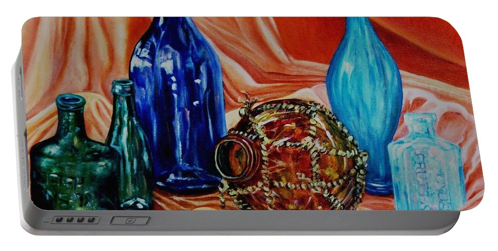 Still Life Portable Battery Charger featuring the painting Orange Cloth Blue Bottles by Caroline Street