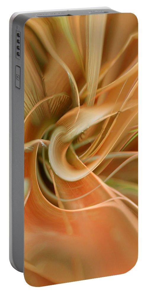 Abstarct Art Portable Battery Charger featuring the digital art Orange Delight by Linda Sannuti