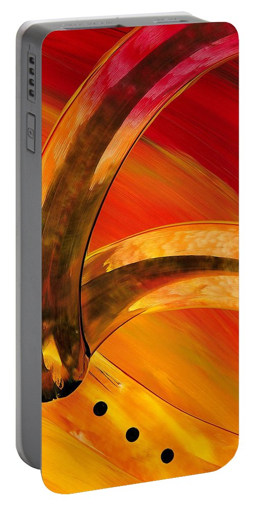Abstract Art Portable Battery Charger featuring the painting Orange Expressions by Sharon Cummings