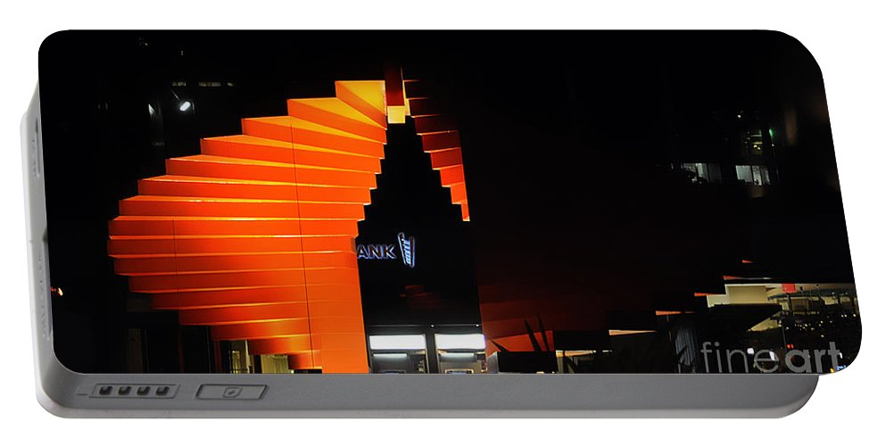 Clay Portable Battery Charger featuring the photograph Orange Fountain Downtown Los Angeles by Clayton Bruster