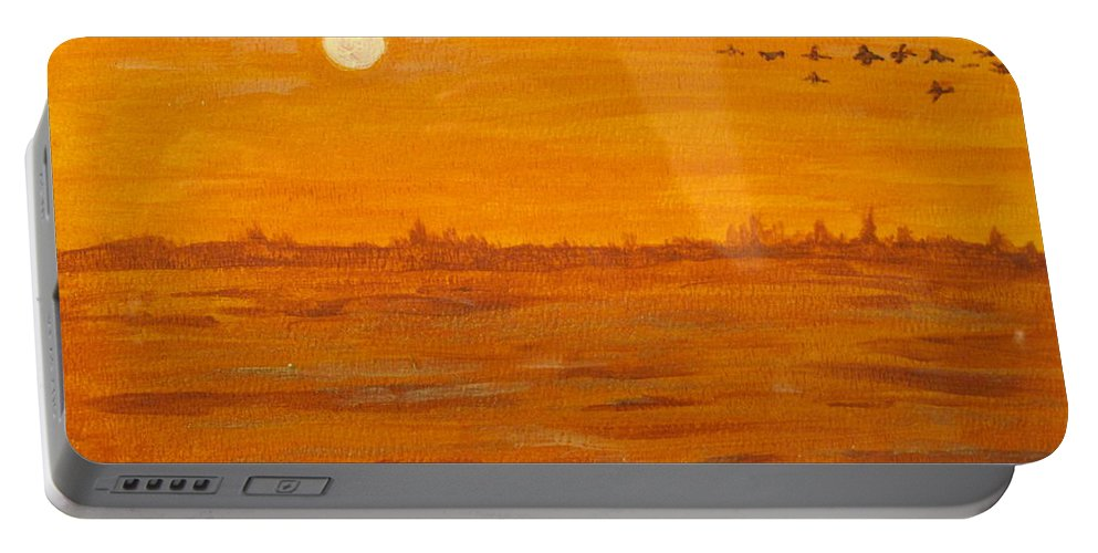 Orange Portable Battery Charger featuring the painting Orange Ocean by Ian MacDonald