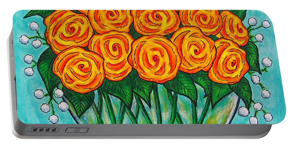 Orange Portable Battery Charger featuring the painting Orange Passion by Lisa Lorenz