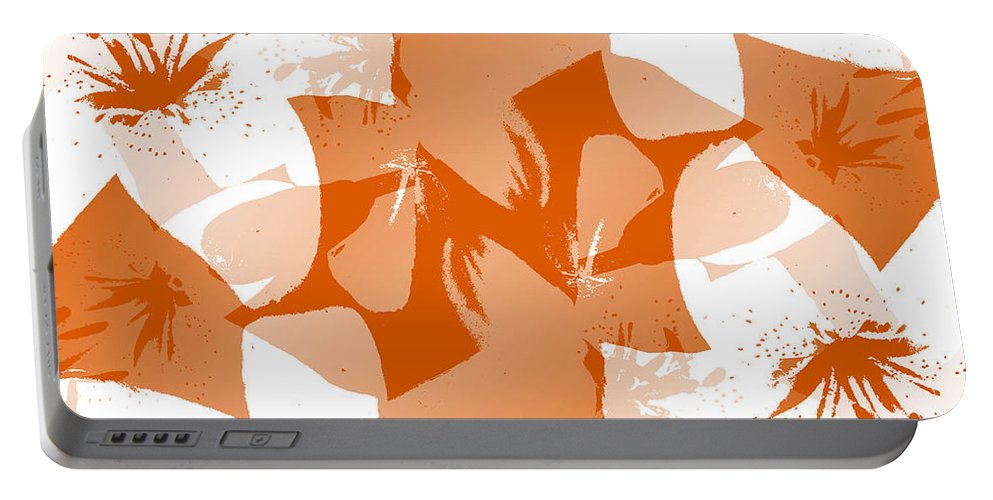 Botanical Portable Battery Charger featuring the digital art Orange Poster Lilies by Ruth Palmer
