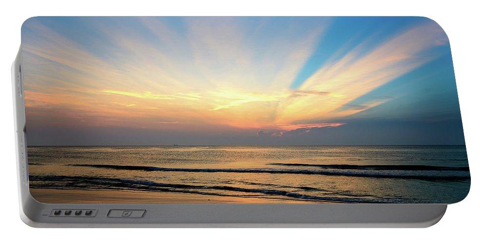 Landscape Portable Battery Charger featuring the photograph Orange Seas by Michael Scott