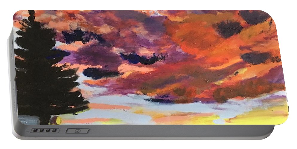 Uplifting Sunset Portable Battery Charger featuring the painting Orange Sunset Spectator by Nicole Poirier
