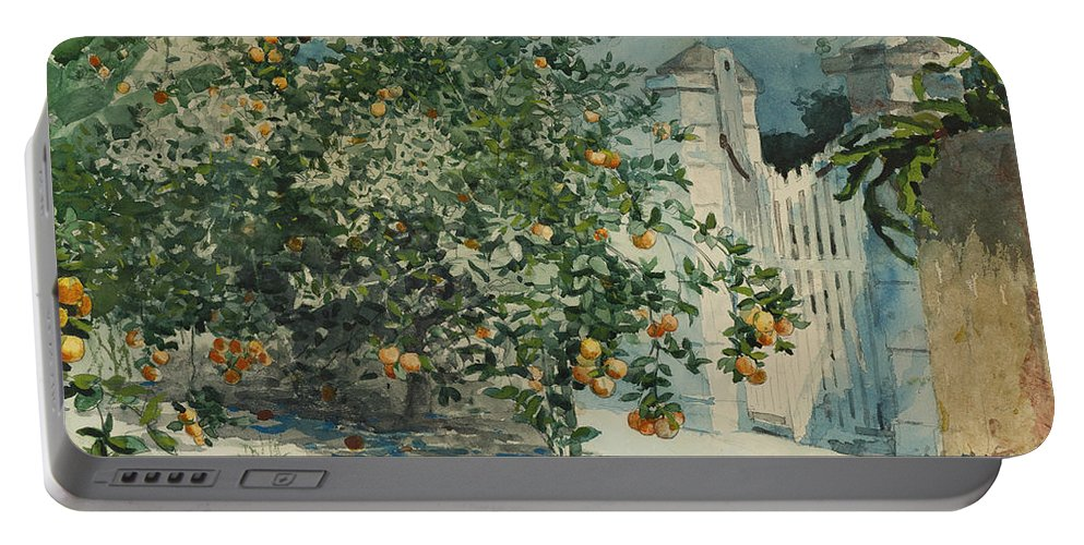 19th Century American Painters Portable Battery Charger featuring the painting Orange Trees And Gate by Winslow Homer