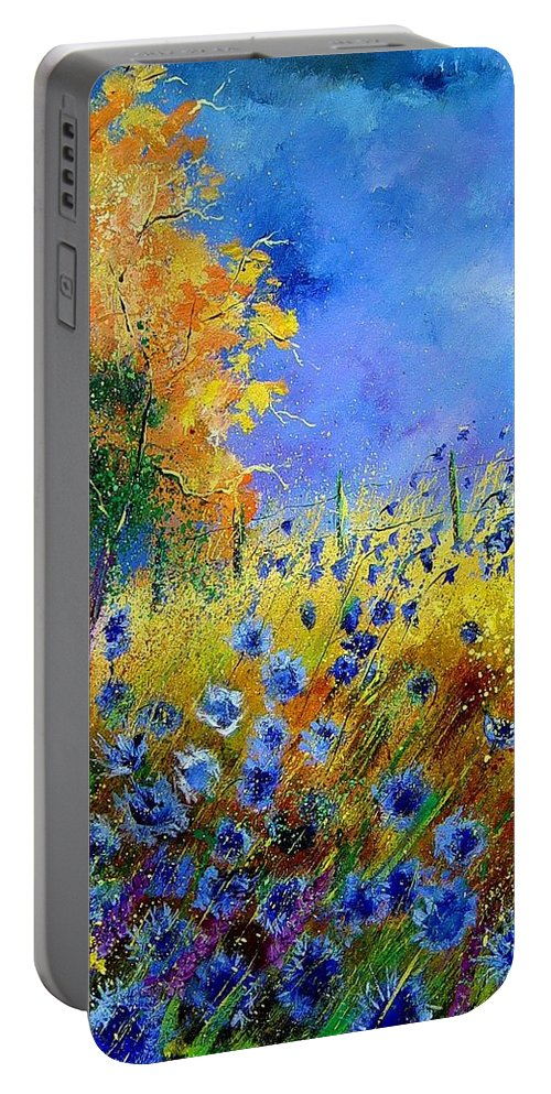 Flowers Portable Battery Charger featuring the painting Orange Trees by Pol Ledent