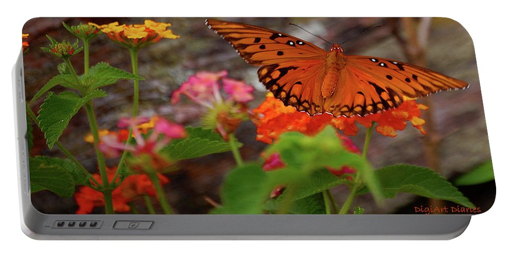 Butterfly Portable Battery Charger featuring the digital art Orange You Pretty by DigiArt Diaries by Vicky B Fuller
