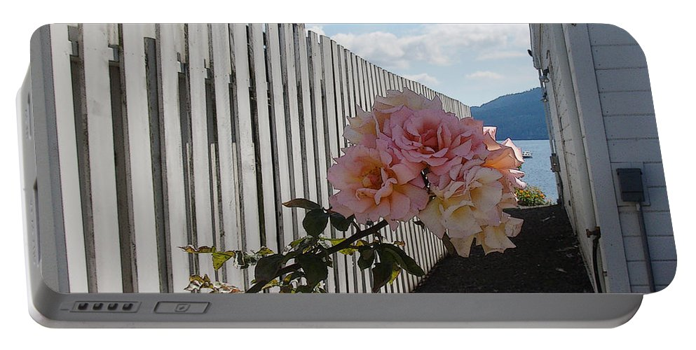 Rose Portable Battery Charger featuring the photograph Orcas Island Rose by Tim Nyberg