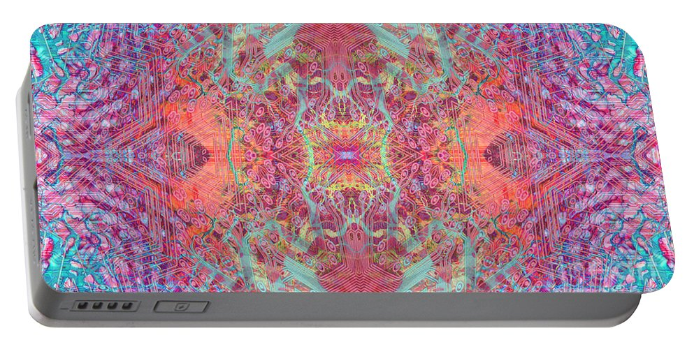 Abstract Portable Battery Charger featuring the digital art Orchard Interface by Ryan Ross