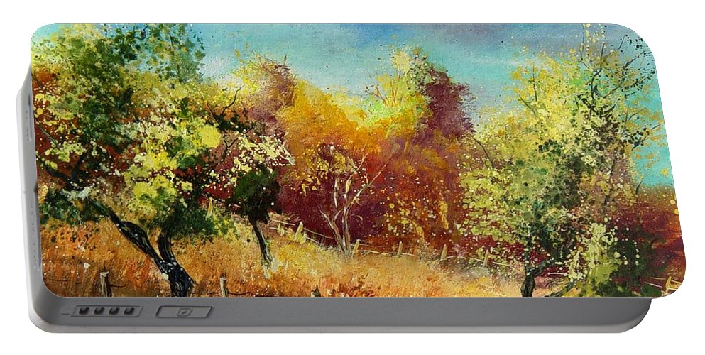 Flowers Portable Battery Charger featuring the painting Orchard by Pol Ledent
