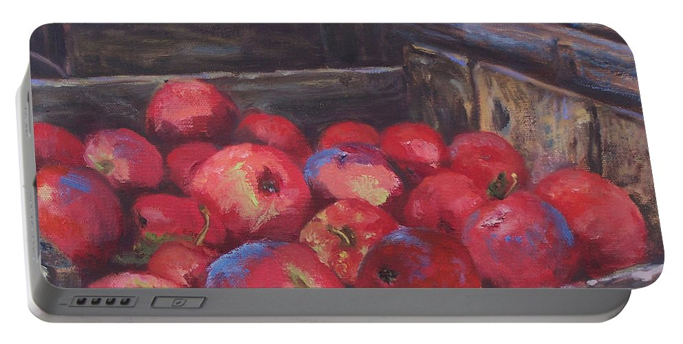 Apples Portable Battery Charger featuring the painting Orchard's Harvest by Alicia Drakiotes