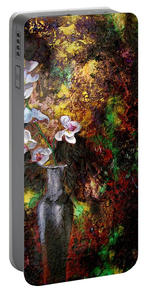 Orchid Art Beautiful Art Portable Battery Charger featuring the painting Orchid 1 by Laura Pierre-Louis