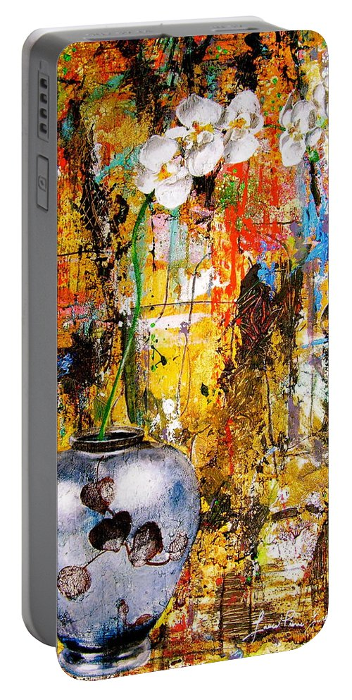 Orchid Art Beautiful Art Portable Battery Charger featuring the painting Orchid 5 by Laura Pierre-Louis