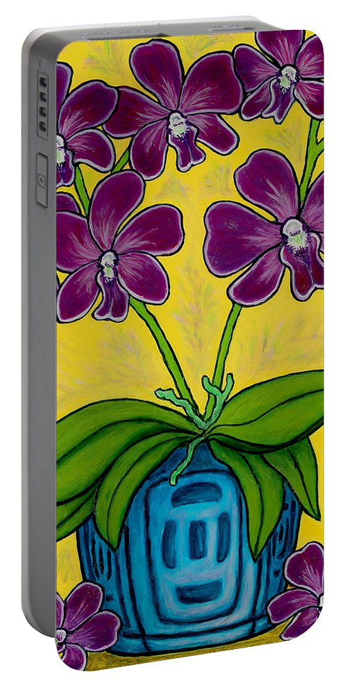 Orchids Portable Battery Charger featuring the painting Orchid Delight by Lisa Lorenz