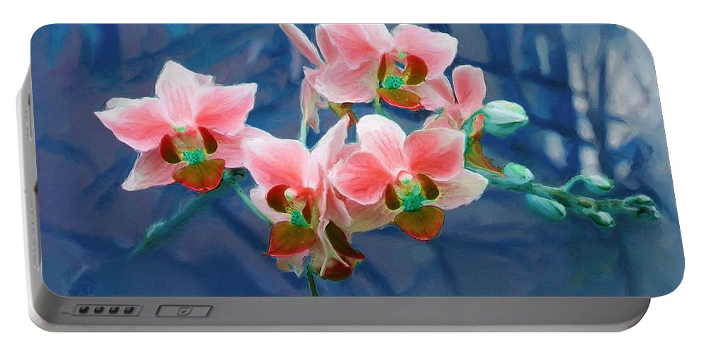 Flowers Portable Battery Charger featuring the painting Orchid Flowers 8 by Susanna Katherine