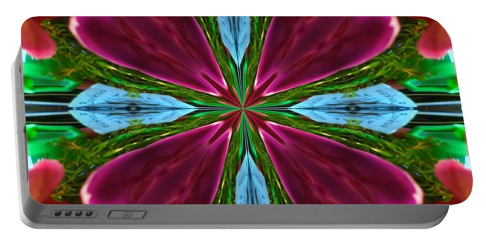 Digital Art Portable Battery Charger featuring the digital art Orchid Frenzy by Max DeBeeson