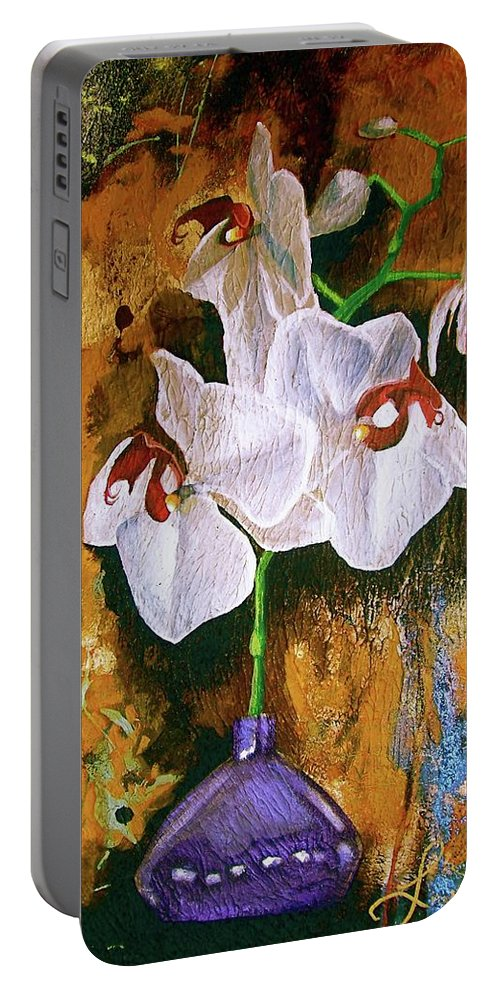 Flowers Portable Battery Charger featuring the painting Orchid Ho by Laura Pierre-Louis