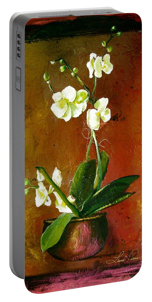 Orchid Art Beautiful Art Portable Battery Charger featuring the painting Orchid by Laura Pierre-Louis